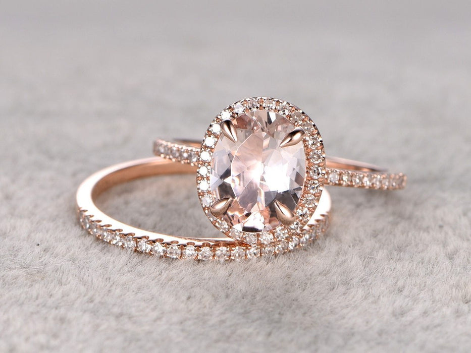 Huge 3 Carat Oval Cut Morganite and Diamond Wedding Ring Set in Rose Gold