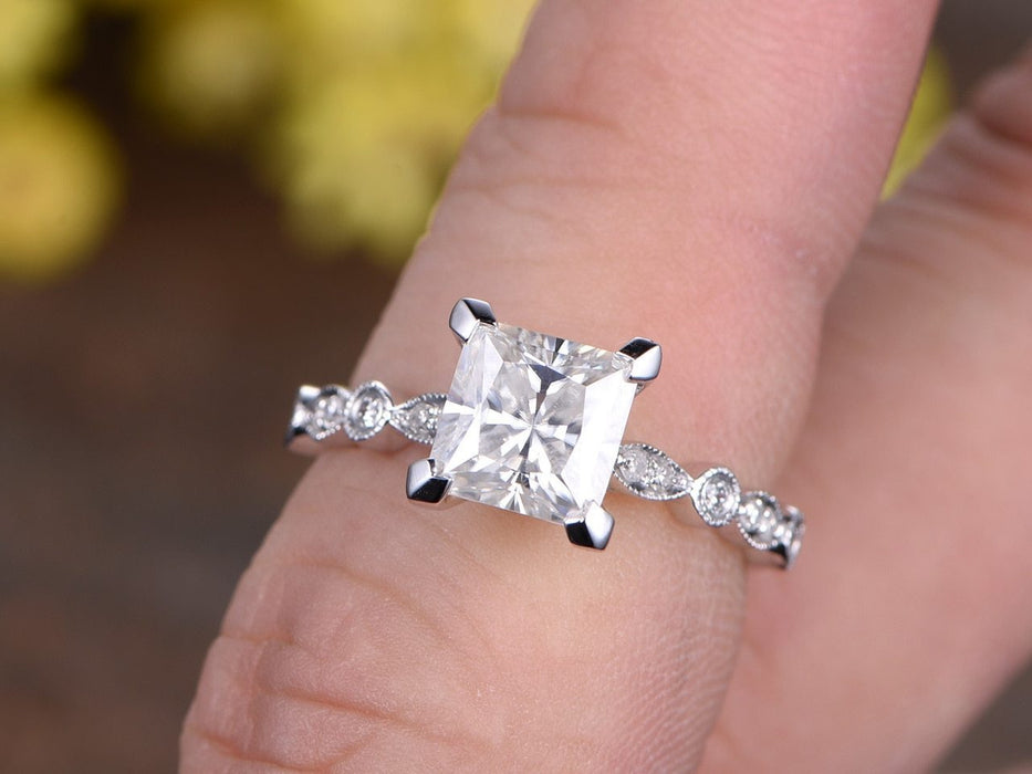 1.25 Carat Art Deco Princess Cut Moissanite and Diamond Engagement Ring in White Gold