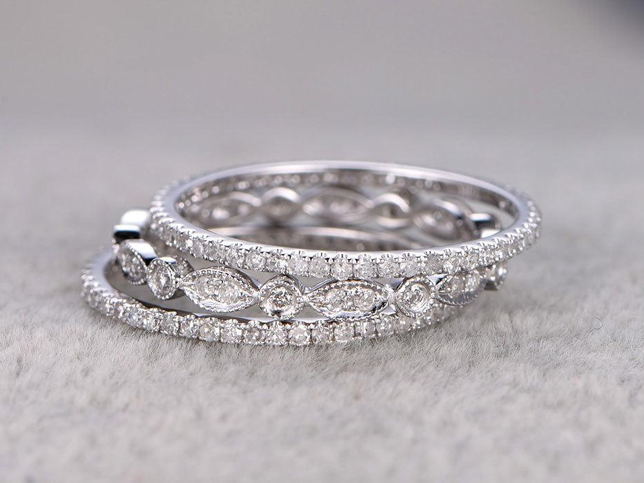 1 Carat Round cut Diamond Wedding Ring Band Trio Set Art Deco in White Gold