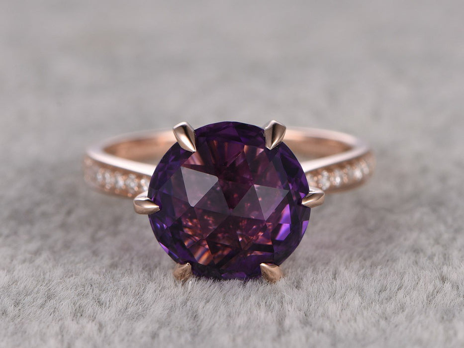 Huge 3 Carat Round Cut Amethyst and Diamond 6 Claws Solitaire Engagement Ring in Rose Gold
