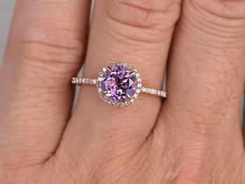 Perfect 1.50 Carat Purple Round Cut Amethyst and Diamond Halo Engagement Ring in Rose Gold