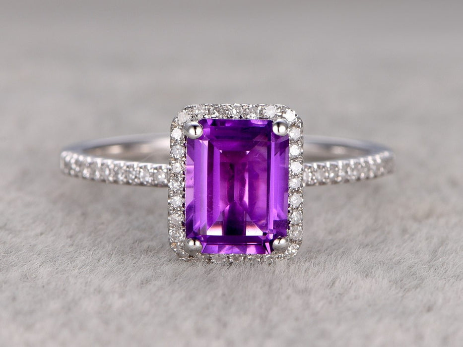 2 Carat Emerald Cut Purple Amethyst and Diamond Halo Engagement Ring in White Gold