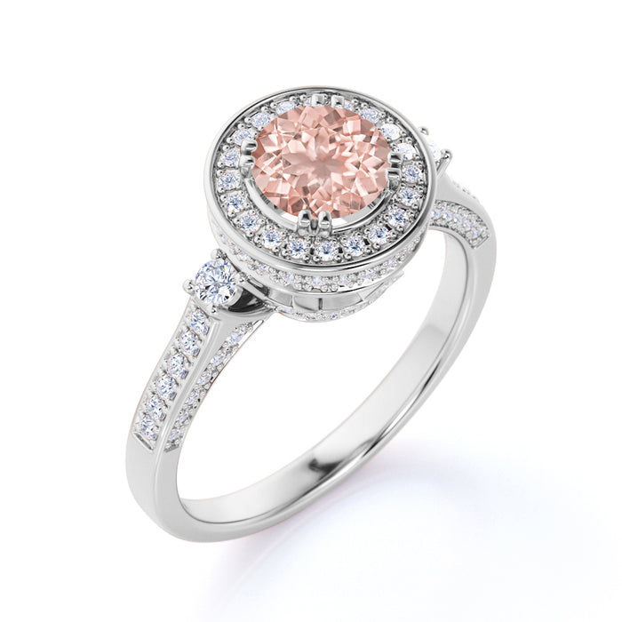 1.75 Carat Round Cut Peachy Pink Morganite and Diamond Halo Wedding Ring in Rose Gold