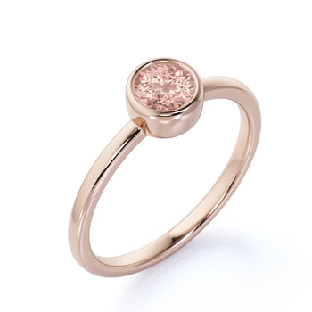 Minimalist 1 Carat Bezel Set Peach Pink Round Morganite Solitaire October Birthstone Ring in Rose Gold