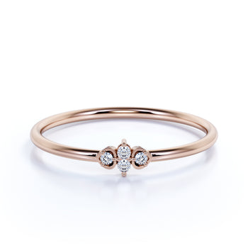 Minimalist Dainty Stacking Ring with Round Shape Diamonds in Rose Gold