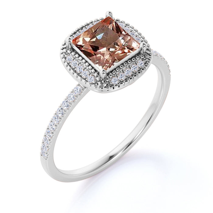 Vintage 1.50 Carat Princess Cut Peach Morganite and Pave Diamond Accents Halo Wedding Ring in Rose Gold