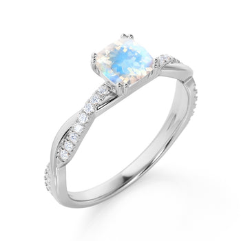 1.50 Carat Cushion Cut Rainbow Moonstone & Diamond June Birthstone Infinity Engagement Ring in White Gold