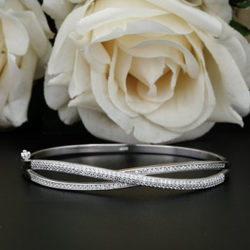 1.5 Carat Diamond Two Superior Infinity Bangle Bracelet in Silver