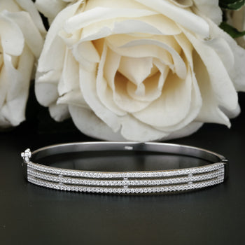 2 Carat Diamond Three Row Bangle Bracelet for Women in Silver