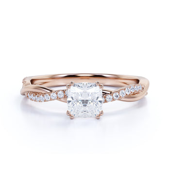 1.50 Carat Cushion Cut Moissanite & Diamond Pave Infinity Engagement Ring in Rose Gold