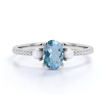 Antique .95 Carat Oval Aquamarine, Pearl & Diamond Three Stone Wedding Ring in White Gold
