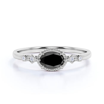 1.5 Carat Vintage Milgrain Set Oval Cut Black Diamond and White Diamond 6 Prong Engagement Ring in White Gold