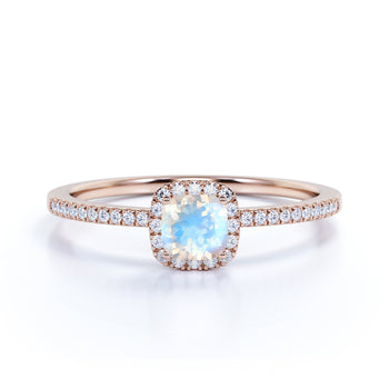 0.75 Carat Genuine Rainbow Moonstone & Diamond Cluster Halo Wedding Ring in Rose Gold