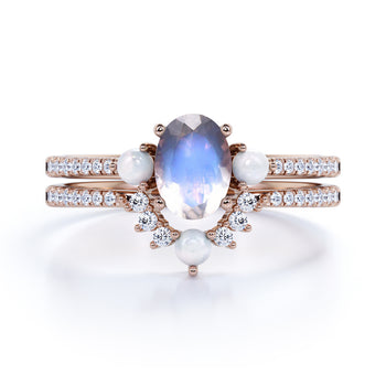 Antique 1.50 Carat Real Oval Blue Moonstone, Pearl & Diamond Wedding Ring Set in Rose Gold