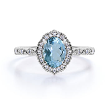 1.5 Carat Vintage Art Deco Oval Aquamarine & Diamond Pave Halo Wedding Ring in White Gold