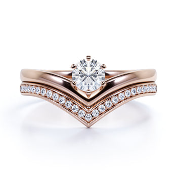 Vintage Channel Set .83 Carat Fire White Moissanite & Diamond Bridal Set in Rose Gold