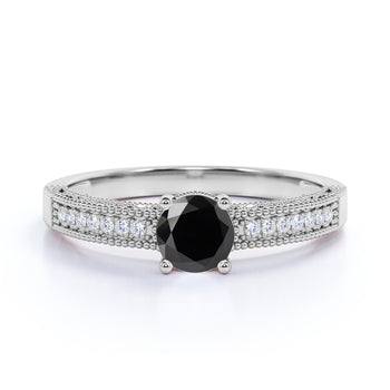Classic Vintage 1 Carat Round Cut Black Diamond and White Diamond Accents Milgrain Engagement Ring in White Gold