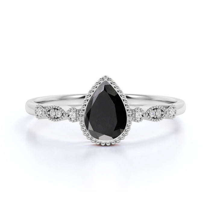 Classic Milgrain Pear Shaped Black Diamond with White Diamond Accents Scalloped Engagement Ring in White Gold