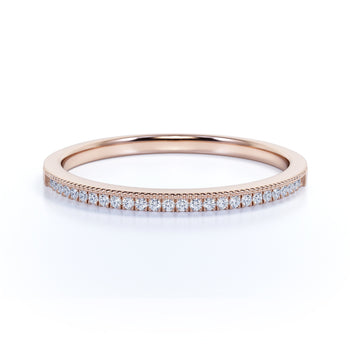 .25 Carat Round Cut Fire Moissanite Semi Eternity Pave Wedding Ring Band in Rose Gold