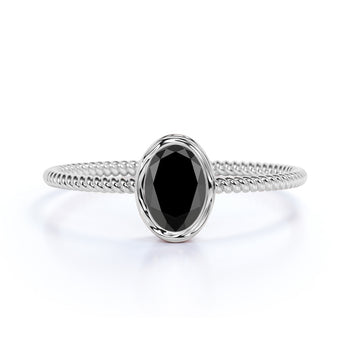 Minimalist Bezel Set 1 Carat Oval Cut Black Diamond Twist Solitaire Engagement Ring in White Gold