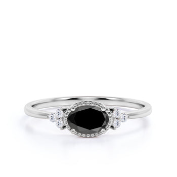 1.50 Carat Vintage Oval Cut Black Diamond and White Diamond Accents Semi Halo Crown Engagement Ring in White Gold