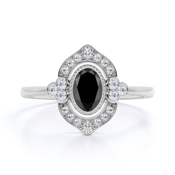 2 Carat Art Deco Oval Cut Black Diamond and White Diamond Vintage Halo Engagement Ring in White Gold
