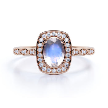 1.50 Carat Art Deco Bezel Oval Cut Blue Moonstone & Diamond Halo Engagement Ring Rose Gold