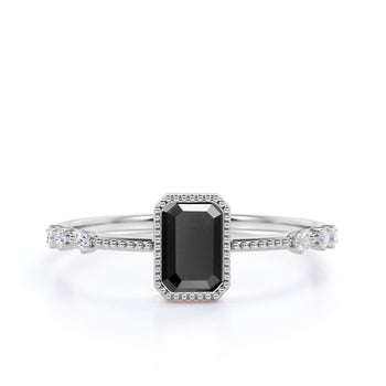 Unique 1.5 Carat Emerald Cut Black Diamond and White Diamond Milgrain Engagement Ring in White Gold