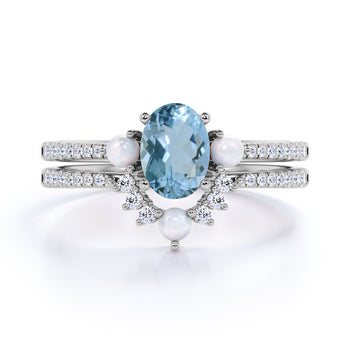 Antique 1.50 Carat Oval Aquamarine, Pearl & Diamond Vintage Bridal Ring Set in White Gold