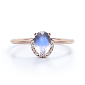 Antique Artdeco .75 Oval Blue Moonstone & Diamond Halo Engagement Ring in Rose Gold
