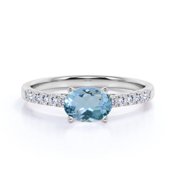 Pave 1.5 Carat Vintage Oval Cut Aquamarine & Diamond Cluster Wedding Ring in White Gold