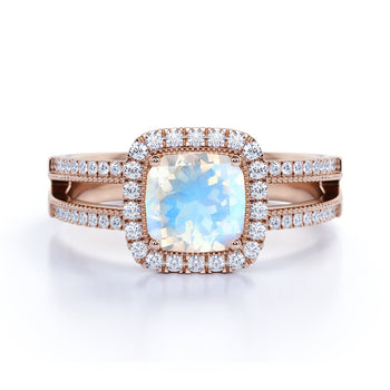 Vintage 1.50 Carat Cushion Cut Rainbow Moonstone & Diamond Halo Wedding Ring in Rose Gold