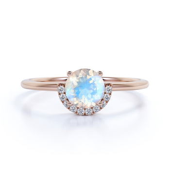Antique Artdeco .75 Round Rainbow Moonstone & Diamond Halo Engagement Ring in Rose Gold