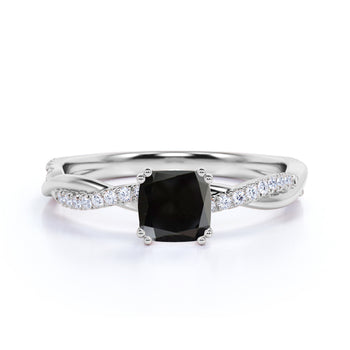 1.5 Carat Cushion Cut Black Diamond and Pave White Diamond Twist Engagement Ring in White Gold