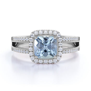 Antique 1.5 Carat Cushion Cut Aquamarine & Diamond Vintage Halo Split-Shank Engagement Ring in White Gold