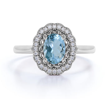 1.50 Carat Antique Oval Aquamarine & Diamond Vintage Halo Engagement Ring in White Gold
