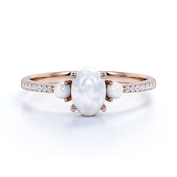 Antique .95 Carat Natural Pearl & Moissanite 3 Stone Pave Engagement Ring in Rose Gold