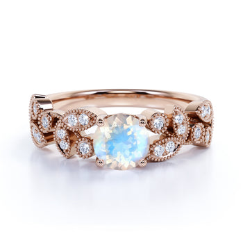 Vintage 1.9 Carat Real Round Rainbow Moonstone & Diamond Floral Bridal Ring in Rose Gold