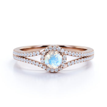 Vintage Round Rainbow Moonstone & Diamond Split Shank Engagement Ring in Rose Gold
