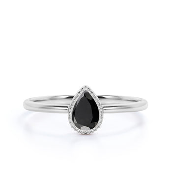 Simple 1 Carat Bezel Set Pear Cut Black Diamond Solitaire Engagement Ring in White Gold