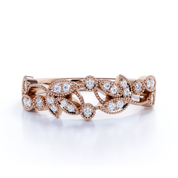 Vintage Floral .25 Carat Round Moissanite Stackable Milgrain Wedding Band in Rose Gold