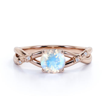 1.20 Carat Real Round Rainbow Moonstone & Diamond Infinity Wedding Ring in Rose Gold