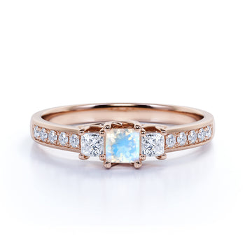 Vintage 1 Carat Square Cut Rainbow Moonstone & Diamond 3 Stone Engagement Ring in Rose Gold