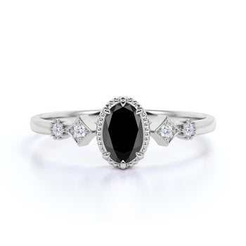 1.5 Carat Oval Cut Black Diamond and White Diamond Accents Milgrain 5 Stone Engagement Ring in White Gold