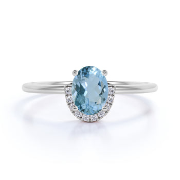 Simple .75 Carat Oval Aquamarine & Diamond Vintage Semi Halo Engagement Ring in White Gold