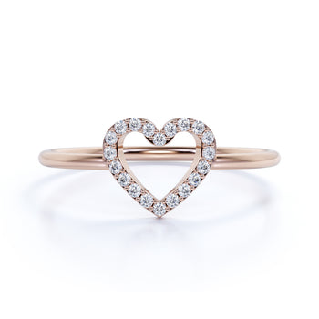 Heart Shape Stackable Ring with Round Diamonds in Rose Gold