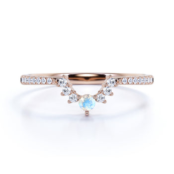 Vintage 0.65 Carat Round Rainbow Moonstone & Diamond Stacking Wedding Ring Band in Rose Gold