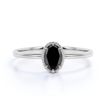 1 Carat Simple Oval Cut Black Diamond Vintage Solitaire Engagement Ring in White Gold