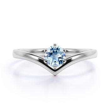 Vintage .33 Carat Round Cut Aquamarine Solitaire Art Deco Promise Ring in White Gold