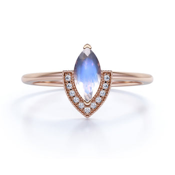 Vintage 0.75 Carat Marquise Cut Blue Moonstone & Diamond Halo Promise Ring in Rose Gold